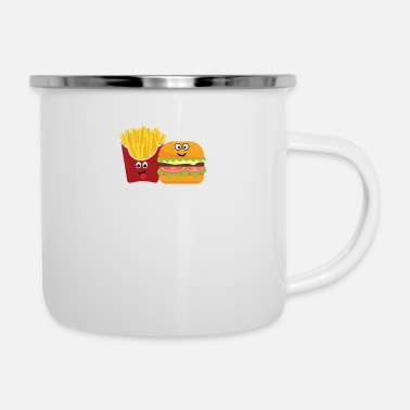Pommes Pommes und Burger Best friends forever - Emaille-Tasse