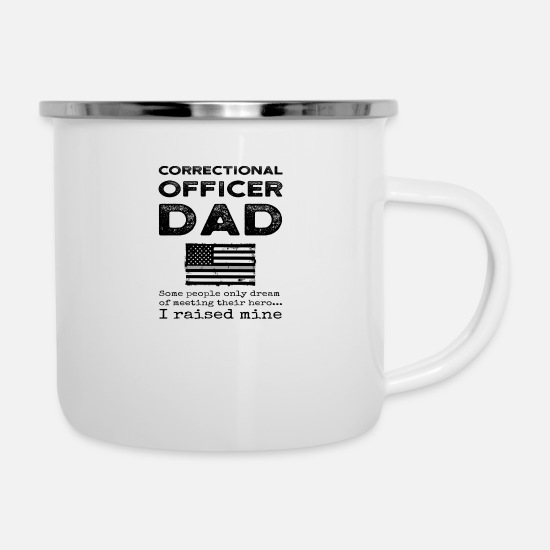 Funny Prison Guard Mugs & Drinkware - Proud Correctional Officer Dad Penal Father Flag - Enamel Mug white