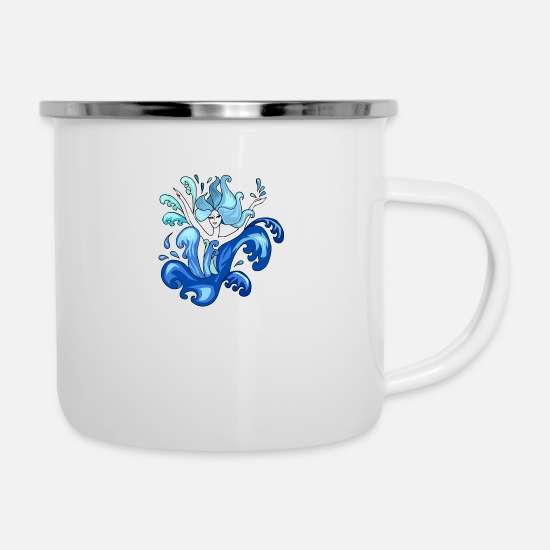Dancer Mugs & Drinkware - Mermaid Illustration - Enamel Mug white