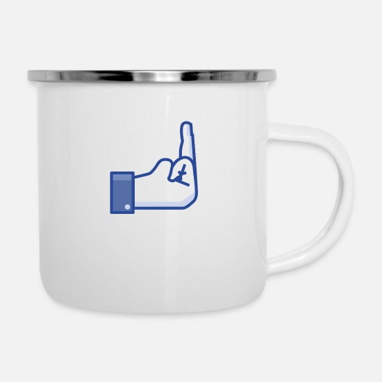 Finger Mugs & Drinkware - middle finger - Enamel Mug white