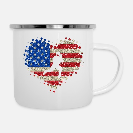 American Football Mugs & Drinkware - I Love American Football - Touchdown Heart Sports - Enamel Mug white