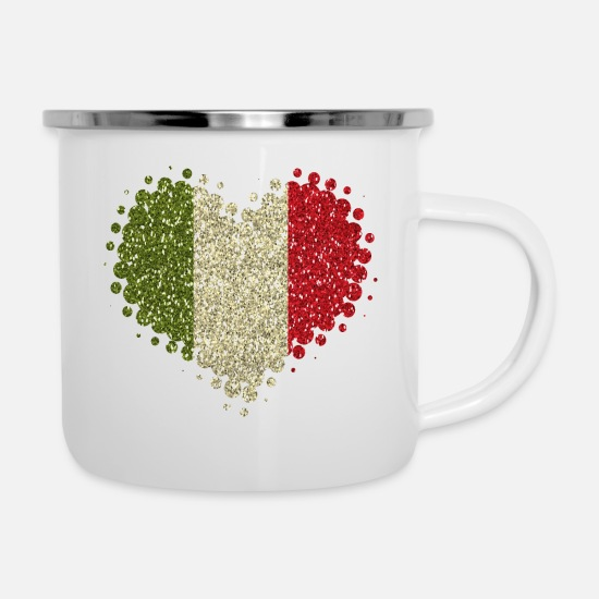 Love Mugs & Drinkware - I love Italy - Home Tradition Pride glitter - Enamel Mug white