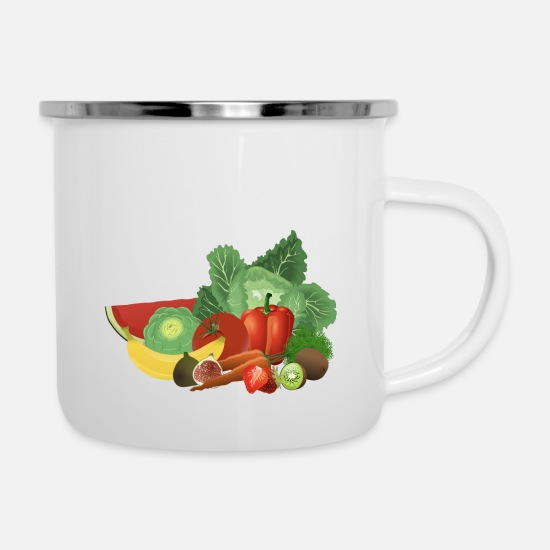 Clean Mugs & Drinkware - Eco Bio Lowcarb LC Clean Eat Vegetable Fruit Stone Age - Enamel Mug white