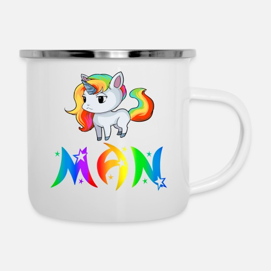 Man Gift Mugs & Drinkware - Unicorn man - Enamel Mug white