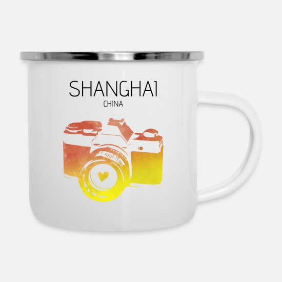 Travel Mugs & Drinkware - China, Shanghai - Enamel Mug white
