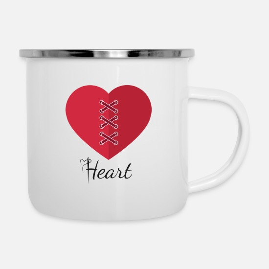 Love Mugs & Drinkware - heart - Enamel Mug white
