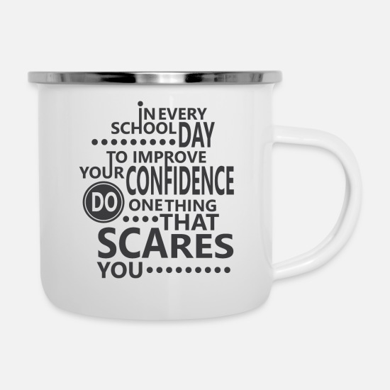 High School Senior Mugs & Drinkware - School study wisdom teacher tip courage gift - Enamel Mug white