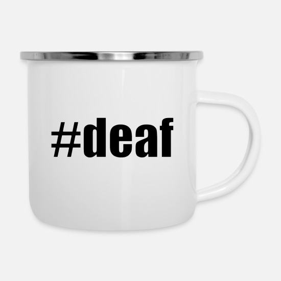 Deaf Mugs & Drinkware - #deaf black - Enamel Mug white