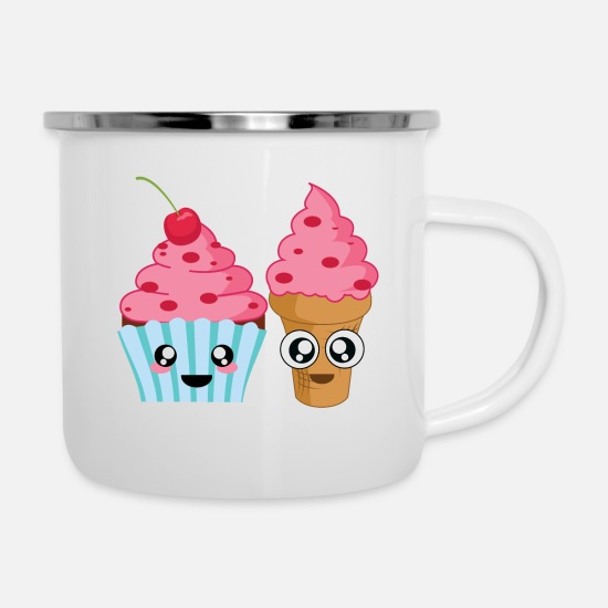 Freundin Tassen & Becher - Cupcake and Icecream Best Friends - Emaille-Tasse Weiß