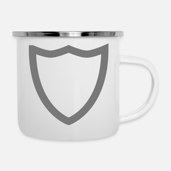 Shield Tassen & Becher - shield - Emaille-Tasse Weiß