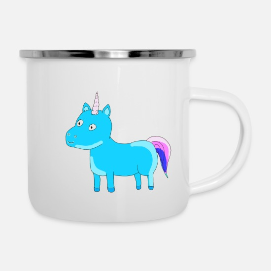 Birthday Mugs & Drinkware - Unicorn Unicorn Sky Blue Gift Idea Tail - Enamel Mug white