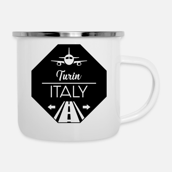 Travel Mugs & Drinkware - Turin Italy - Enamel Mug white