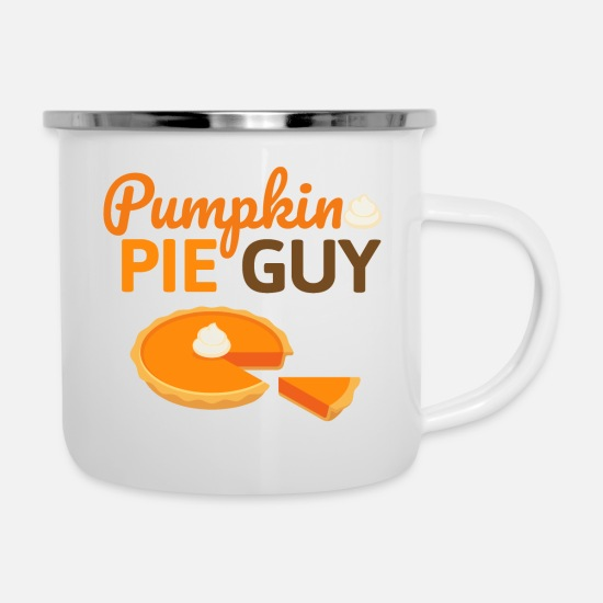 Jackolantern Mugs & Drinkware - Pumpkin Pie Guy - Pumpkin Cake Halloween Fall - Enamel Mug white