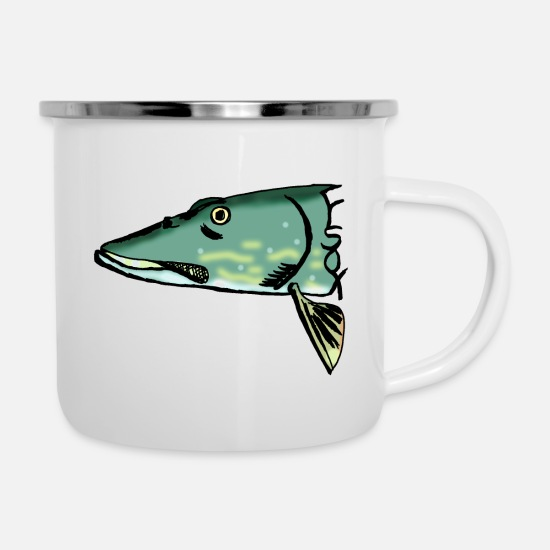 Pike Mugs & Drinkware - pike - Enamel Mug white