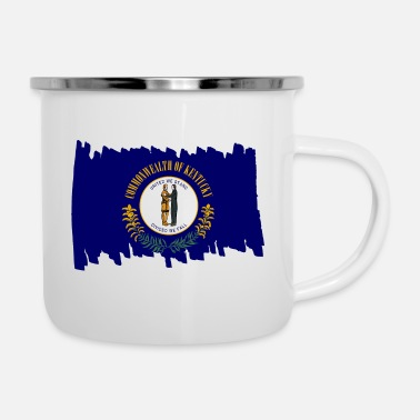 Reise Kentucky USA - Flag - brush vertical - Emaille-Tasse
