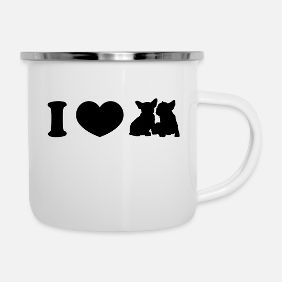 Love Mugs & Drinkware - I ♥ frenchies - Enamel Mug white