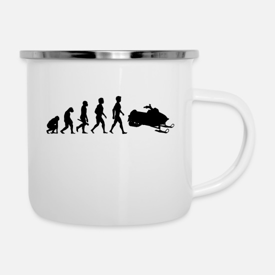 Ski Hut Mugs & Drinkware - apres ski skiing cross country skispingen biathlon11 - Enamel Mug white