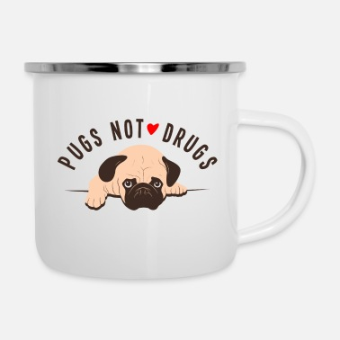 Dogowner Pugs Not Drugs Graphic - Enamel Mug