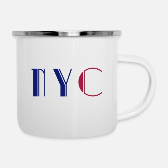 Gift Tassen & Becher - NYC -New York shirt - Emaille-Tasse Weiß