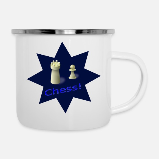 Chess Mugs & Drinkware - chess - Enamel Mug white