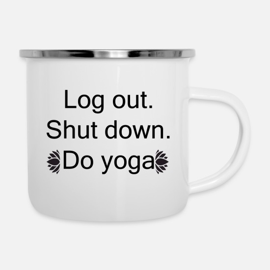 Yoga Mugs & Drinkware - yoga - Enamel Mug white