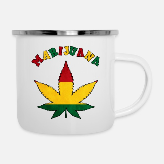 Hemp Mugs & Drinkware - marijuana cannabis weed weed hemp haschich - Enamel Mug white
