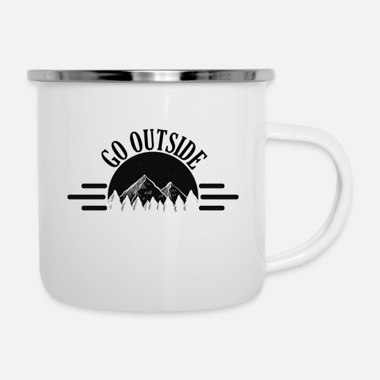 Gift Idea Mugs & Drinkware - Go Outside Nature lover nature gift - Enamel Mug white