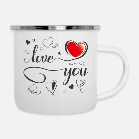 Love Mugs & Drinkware - Love You - Enamel Mug white