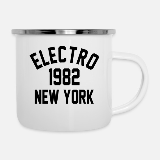 Techno Mugs & Drinkware - Electro 1982 New York - Enamel Mug white