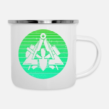Emblem Retro vintage bricklayer artisan green - Enamel Mug