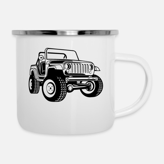 Army Mugs & Drinkware - Off-road vehicle / Jeep SUV 03_black white - Enamel Mug white