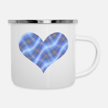 Frequency Blue waves heart - Enamel Mug