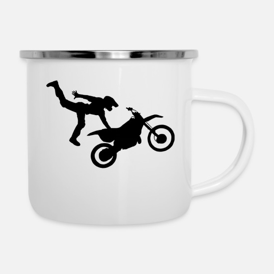 Biker Mugs & Drinkware - Motorcycle Freestyle 1 - Enamel Mug white