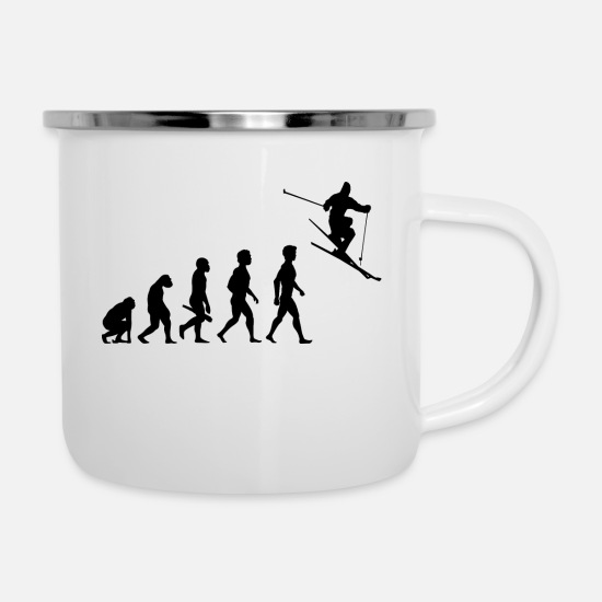 Winter Sports Mugs & Drinkware - apres ski skiing cross country skispingen biathlon9 - Enamel Mug white
