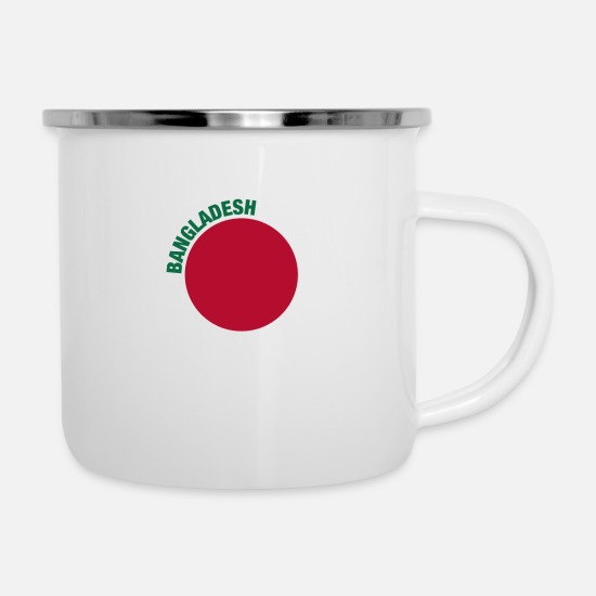 Red Mugs & Drinkware - The Bangladesh Flag - Circular Green Text - Enamel Mug white