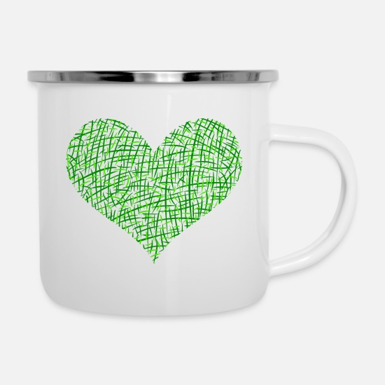 Love Mugs & Drinkware - Green heart - Enamel Mug white