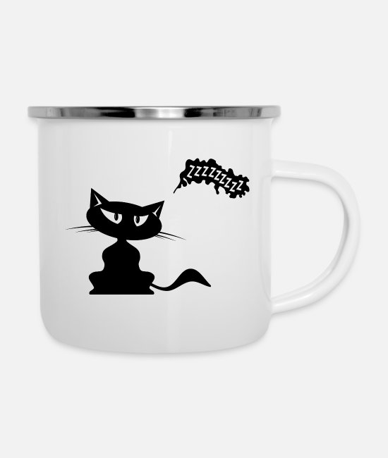 Pussycat Mugs & Drinkware - Cat with speech bubble - Enamel Mug white