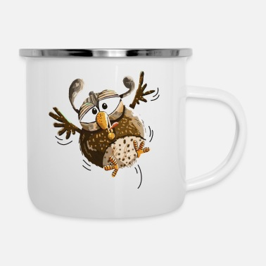 Flutter Fluttering owl flying low - owls - funny - Enamel Mug