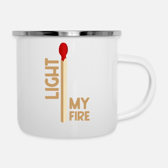 Birthday Mugs & Drinkware - light my fire - Enamel Mug white