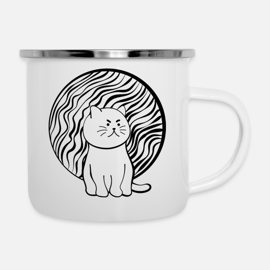 Happy Tassen & Becher - Happy Cat - Emaille-Tasse Weiß