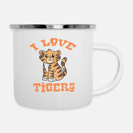 Gift Idea Mugs & Drinkware - Safari Tiger Gift Idea - Enamel Mug white
