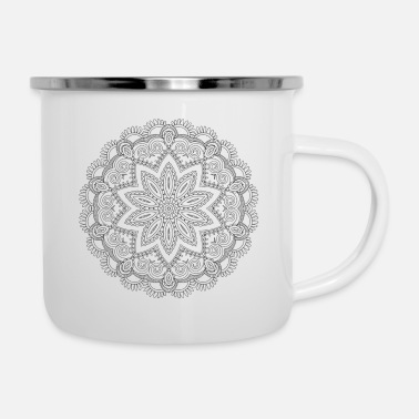 Fine Mandala ornament with a fine pattern - Enamel Mug