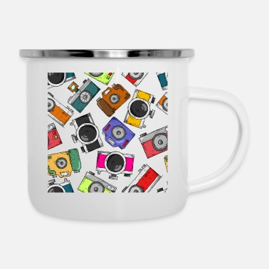 Take Illustration pattern photography camera - Enamel Mug