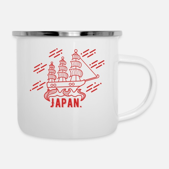 Reise Tassen & Becher - Japan Boot - Emaille-Tasse Weiß