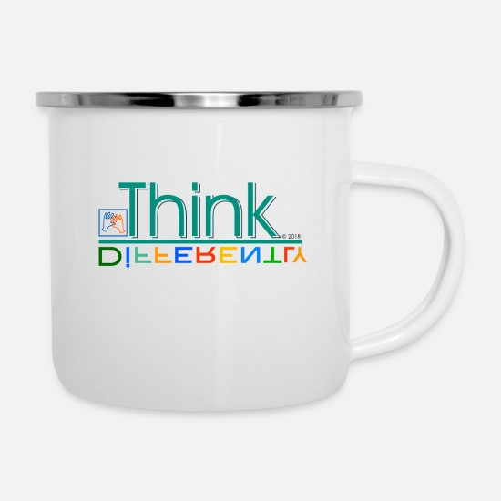 Think Mugs & Drinkware - Think differently - Enamel Mug white