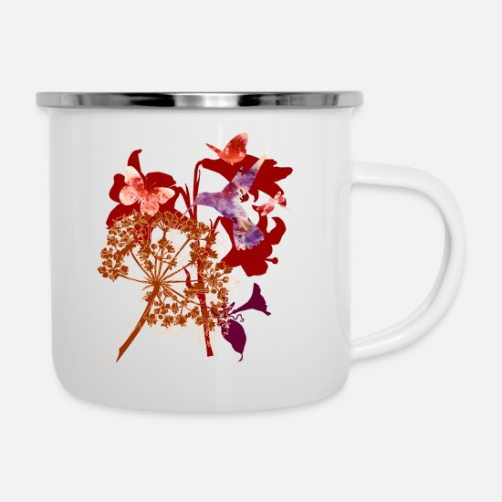 Watercolour Mugs & Drinkware - Butterflies - Enamel Mug white