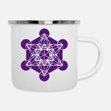Platonic Solids Metatrons Cube - Vector - Platonic Solids / - Enamel Mug