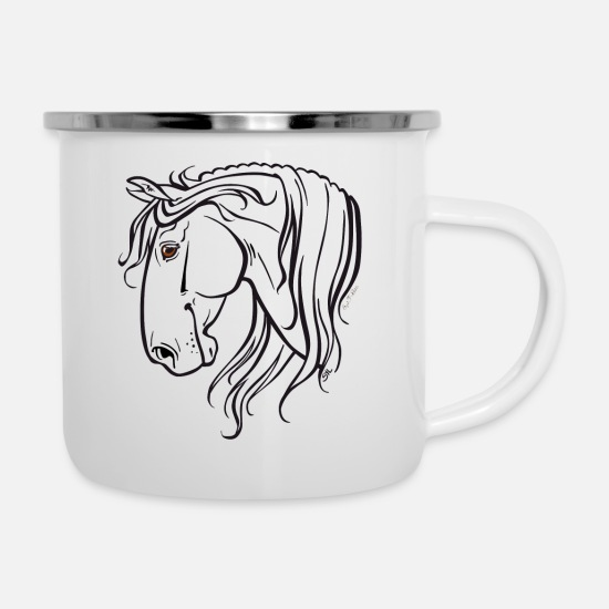 Spanish Mugs & Drinkware - Spanish horse (black) - Enamel Mug white