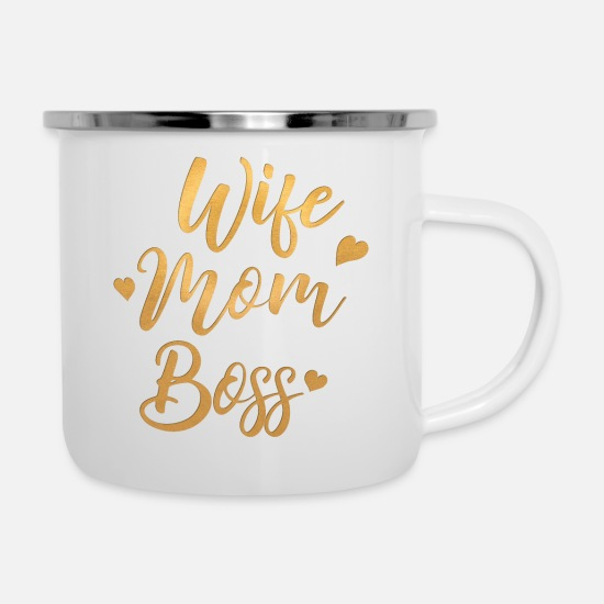 Emancipation Mugs & Drinkware - Wife Mom Boss - Enamel Mug white