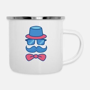Fatherday Hipster Dad Father's Day Fatherday Gift - Enamel Mug